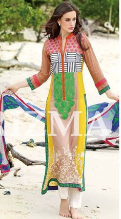 Buy Yellow Embroidered Swiss Voil Salwar Kameez by Charizma Spring and Summer Collection Vol-1, 2015