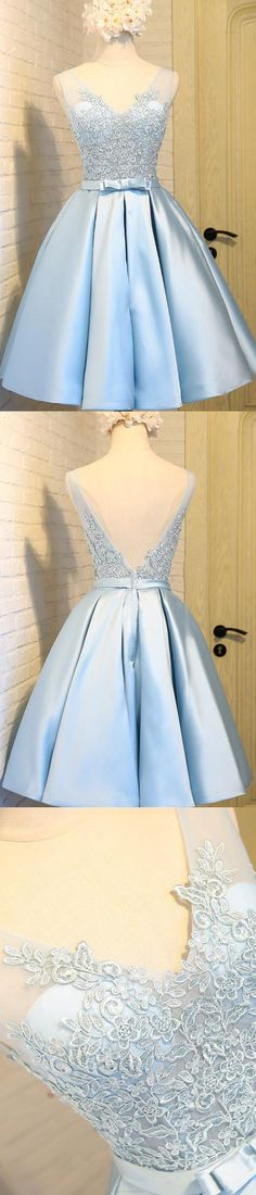 Blue Prom Dresses 2017, Prom Dresses 2017, Short Prom Dresses, Blue Prom Dresses, 2017 Prom Dresses, Short Blue Prom Dresses, Blue Homecoming Dresses, Blue Short Prom Dresses, Prom Short Dresses, Homecoming Dresses 2017, 2017 Homecoming Dress Blue V-neck Appliques Short Prom Dress Party Dress