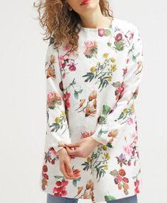 Yumi Krótki płaszcz w kwiaty ivory