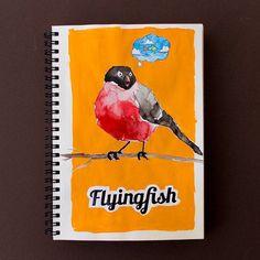 OMG! Flyingfish, by Petri Fills #illustration #bird #sketchbook #sketching