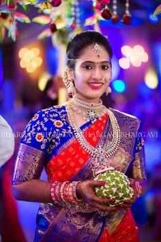 Contrast bridal work blouse Pattu Saree Blouse Designs, Bridal Blouse Designs, Engagement Saree, Wedding Saree Collection, Maggam Work Designs, Designer Blouse Patterns, Blouse Models, Work Blouse, Colour Combinations