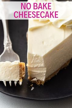 Ultra creamy and smooth No-Bake Cheesecake is exactly what hot summer days call for. Ultra creamy and smooth No-Bake Cheesecake is exactly what hot summer days call for. Brownie Desserts, Oreo Dessert, No Bake Desserts, Just Desserts, Delicious Desserts, Dessert Recipes, Health Desserts, Dinner Recipes, Baking Desserts