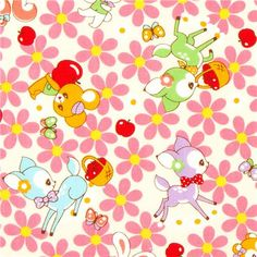 off-white kawaii fabric fawn flowers from Japan