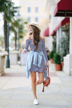 DSW white Keds, also love these blue onesSee the entire Keds collection at DSW here striped dress // similar hat  I have always been a Keds girl - I can remember my mom wearing them when I was very li
