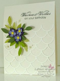 Birthday card made with Stampin Up Something to Say and Blooming with Kindness stamp sets and the Striped Scallop Thinlits die -- kathleenstamps5@gmail.com    www.kathleenstamps.com