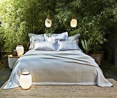 ATLANTIC   The immensity of the Atlantic Ocean is the inspiration behind this design. An infinite sateen stripe defines this elegant bed linen.