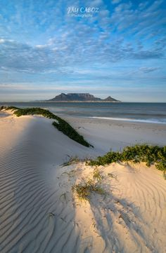 Early morning light touching the dunes of Dolphin Beach, Cape Town. Be careful not to step into the foreground and spoil your image! Usually these dunes will be littered with foot prints. But, just after the heavy wind its a good chance to get them looking pristine and untouched. Early morning or late afternoon is best when shooting dunes because you can maximize the shadows and contrast in the sand. Table Mountain, Mountain View, Place To Shoot, Foot Prints, Light Touch, The Dunes, Morning Light, Early Morning, Cape Town