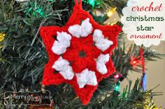 Crochet Christmas Star Ornament - Free Pattern  #christmas #ornament #crochet