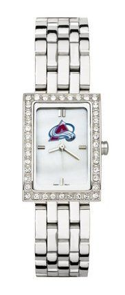 Colorado Avalanche Women's Allure Watch with Stainless Steel Bracelet by Logo Art. $87.72. This women's fashion watch has a mother of pearl dial, Colorado Avalanche color logo and raised hour markers.Features:Polished chrome finish alloy case with cubic zirconium crystalsComes with a stainless steel braceletContains Miyota quartz movementLimited lifetime warranty Team the watch up with a matching . Browse all of our Other are also available for the Colorado Av...