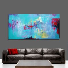 Abstract painting, CUSTOM. This painting is SOLD Your painting will be created very similar in the same style, color and size. After your order, Ill start creating your painting within 2-3 days. I will finish within 8-10 days. Then Ill send you a picture of the painting for your acceptance. You can cancel the order and get a refund at any time. Dimensions: 97x195cm / 38x77 inches Medium: Acrylic, Oil Support: Canvas The sides are painted and the painting can be hung unframed. The pa...