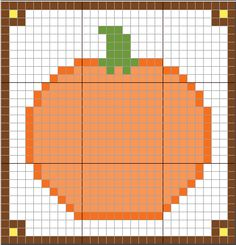 Plastic Canvas: Pumpkin with border (courtesy for Sweetclipart.com and MacStitch 2012 demo)
