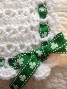 Irish Baby Blanket. White Crocheted Baby by BrennansBlankets