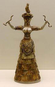 The Snake Goddess or a priestess performing a ritual (MM III).