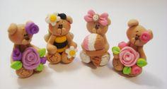 Mini Mix Set Rose, Bee Fairy, Ice Cream Polymer Clay Charm Bead Scrapbooking Embelishment Bow Center Pendant Cupcake Topper