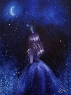 Reach for the Stars, Star Girl in Space, Stars, Galaxy [unframed Original Fine Art Print] - Art Star Painting, Galaxy Painting, Galaxy Art, Galaxy Anime, Painting Of Girl, Scenery Wallpaper, Galaxy Wallpaper, Disney Wallpaper, Girl Wallpaper