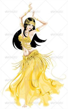 Buy Belly Dancer in a Golden Costume by IDyshkalps on GraphicRiver. woman dancing traditional belly danc in a golden costume Dance Paintings, Indian Art Paintings, Belly Dance Outfit, Belly Dance Costumes, Bd Art, Belly Dancing Classes, Tribal Dance, People Dancing, Cartoon People