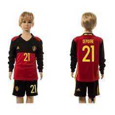 Belgien Trøje Børn 2016 #Depoitre 21 Hjemmebanetrøje Lange ærmer.222,01KR.shirtshopservice@gmail.com