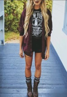 grunge look - dark red lipstick, dark red and black collared button up shirt or cardigan, black tshirt with white print, black shorts, and combat boots with socks underneath.