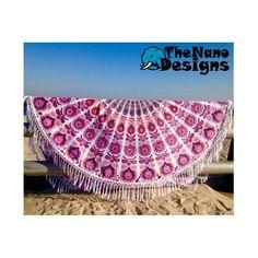 Pink Feather Mandala Roundie Bedspread Beach Throw Wall Decor – TheNanoDesigns
