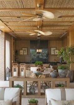 Summer style!! Elegant outdoor terrace veranda deck with outdoor ceiling fans and outdoor kitchen!