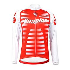 KOOPLUS Unisex Customized Red White Stripes Spring Autumn Long Sleeve Polyester Cycling Jersey , Font 6-Text Color 5 *** You can find out more details at the link of the image.