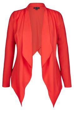 City Chic - COLOURED X OVER DRAPE JACKET  - Women's Plus Size Fashion