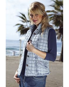Blue Willi's Sleeveless Quilted Vest Ref: Quilted Vest, Classic Collection, Cardigans For Women, 100 Pure, Stitching, Lady, Womens Fashion, Magazine, Pockets