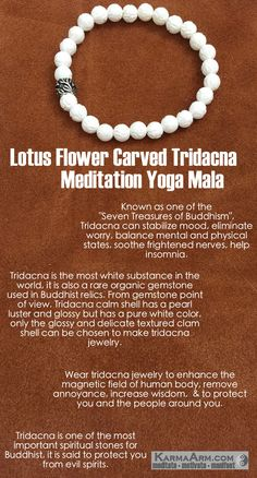 MANTRA: I am surrounded in calming energy. - 8mm Lotus Flower Carved Tridacna Natural Gemstones - Tibetan Silver Floral Rondelle - Commercial Strength, Latex-Free Elastic Band - Artisan Crafted in our