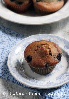 Warm and Tender Gluten-Free Blueberry Flax Muffin @ Gluten-Free Goddess