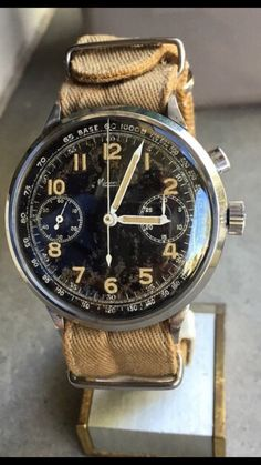 "82aa1202f4a thegildedrage  ""A ruggedly beautiful military monopusher Minerva  chronograph from WWII."