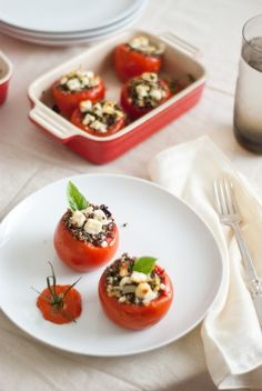 Mediterranean Stuffed Tomatoes with Quinoa....very good I liked Jon hates olives so he didn't but oh well