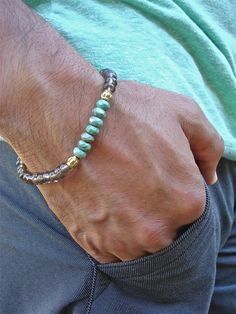 Men's Spiritual Protection Bracelet with African Faceted Turquoise, Smoky Clear Quartz and Brass -  Wisdom and Protection Man Bracelet by tocijewelry on Etsy