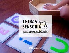 Letras tipo lija para aprender las letras sensorialmente. Inspiración Montessori Indoor Games For Kids, Kids Outdoor Play, Outdoor Learning, Social Emotional Learning, Kids And Parenting, Literacy, Homeschool, Teaching, Activities