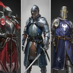 """Medieval knights collection. Personal project, started from small thumbnails in between work, and grown up to this. Every character has his personal """"historical time of existing"""", weapon and """"speciality"""" Hope you like it friends)"""