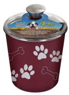 Dog: Dishes & Bowls Functional and beautiful, like our Bella Bowls - in a canister! Loving Pets brings new life to veterinarian-recommended, stainless steel treat canisters by combining a stainless steel interior with an attractive poly-resin exterior. These canisters include a removable rubber base to prevent spills and a see-through plastic lid with gasket seal to keep treats fresh!