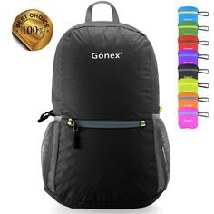 Gonex Packable Handy Lightweight Travel Backpack Daypack with 8 color choices-Black