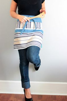 Gift for Him, unisex half apron with blue and tan stripes by akitschykitchen