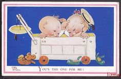 MABEL LUCIE ATTWELL 'YOU'S THE ONE FOR ME!' CUTE GIRL BOY IN TOY TRUCK ART CARD