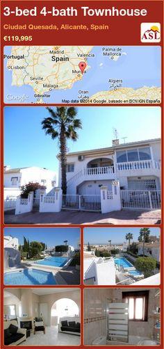 3-bed 4-bath Townhouse in Ciudad Quesada, Alicante, Spain ►€119,995 #PropertyForSaleInSpain