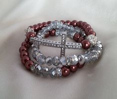 Burgundy Sideways Crystal Cross Bracelet Set  Crystal Cross Bracelet  Sideways Cross Bracelet  Burgundy Bridal Bracelet  Bridal Jewelry (10.00 USD) by MissGawdysJewelry