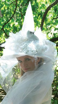 WISE WOMAN WHITE WITCH HAT $70
