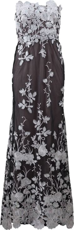 MARCHESA NOTTE Embellished Floral Tulle Gown