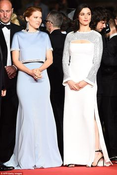 Set to stun: Léa Seydoux wore Miu Miu (left) and Rachel was dressed in custom Louis Vuitton (right)