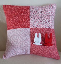 Hand-Stitched Red and White Bunnies in by LavenderBluDesigns
