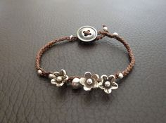 OOAK Sterling Silver Floral Charm Button Bracelet by TheDepths