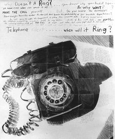 Irv Tepper - Why Doesn't it Ring?, 1980, graphite on paper, 71 x 57 inches