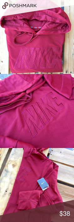 NWT Nike Hoodie Men's Maroon Therma-fit long sleeve hoodie. 100% polyester. Open to offers 😊 Nike Jackets & Coats Performance Jackets