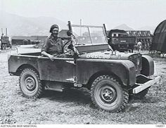 An English Major in an English style jeep (series 1 Landrover) at the camp for Australian Force in Korea Maintenance Area. Land Rover Serie 1, Land Rover Defender, Series 1 Landrover, British Armed Forces, Off Road, Korean War, English Style, British Army, Range Rover