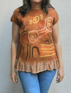 Nuno felt blouse aborigenes symbols Dreamtime story cave