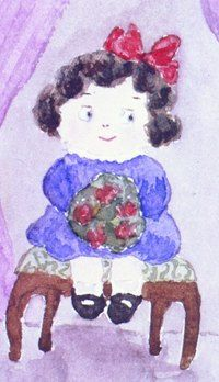 Here's a copy of watercolor I painted. I hope you like it. I painted lots of different things, flowers, animals, landscapes and silly things to make people laugh.  All of us sisters painted, sewed and did other crafts. We even learned how to make jewelry with special equipment that kind Mr. Faberge brought us.